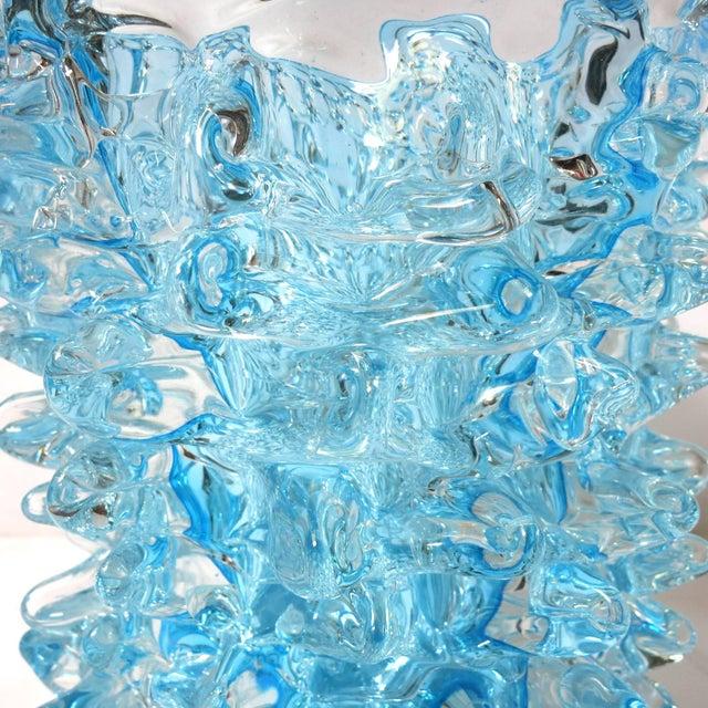 Mid 20th Century Italian Murano Aquamarine Rostrato Glass Vase by Maestro Camozzo For Sale - Image 5 of 7