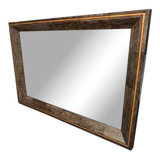 Coco Shell and Parchment Mirror For Sale