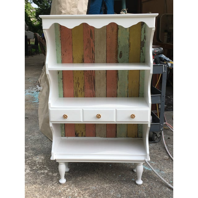 This is a fabulous farmhouse chic cabinet. Perfect for a nursery or in a kitchen or even in a bathroom for extra storage....