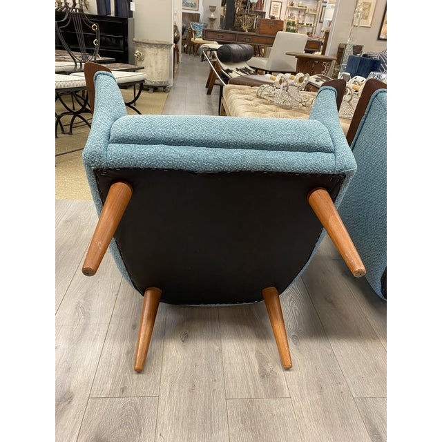 Wood Vintage Mid Century Modern Pair Vatne Mobler Newly Upholstered Lounge Club Chair For Sale - Image 7 of 9