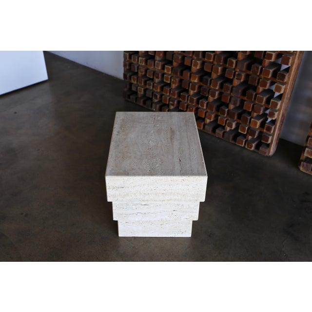 Sculptural Modernist Travertine Side Table, Circa 1980 For Sale In Los Angeles - Image 6 of 13