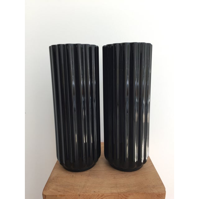 "Black George Sakier ""Lotus"" Vase for Fostoria Glass Company - a Pair For Sale - Image 8 of 12"