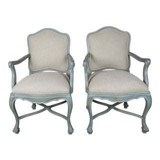 Pair of Painted Swedish Style Armchairs W/ Linen Upholstery For Sale