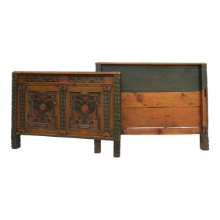 19th Century European Full Painted and Carved Headboard and Footboard - 2 Pieces For Sale
