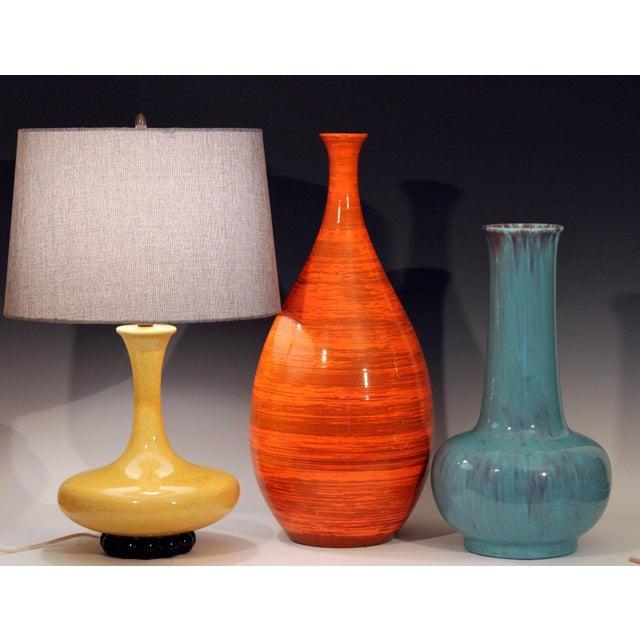 Art Deco Royal Haeger Hickman Blue Flambe Glaze Art Deco Pottery Vase Lamp Vintage For Sale - Image 3 of 12
