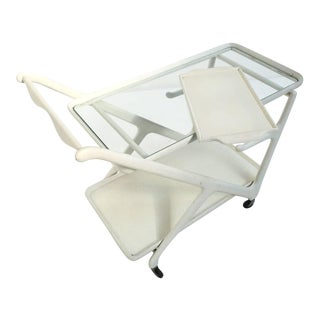 Unique White Cesare Lacca Tea Trolley or Bar Cart for Cassina, Italy 1950s