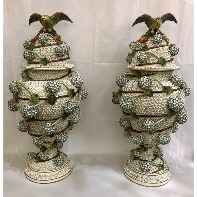 """Spectacular Pair Antique """"Mille Fleurs"""" Dresden Urns and Covers, Unique Design, Circa 1910-1920. For Sale In New Orleans - Image 6 of 6"""
