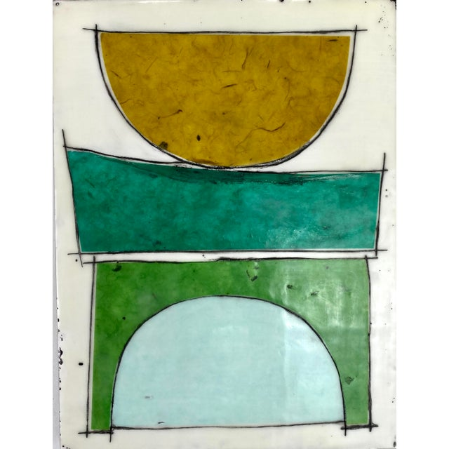 """""""Eat the Cake"""" by Gina Cochran Encaustic Collage Installation - 9 Panels For Sale - Image 9 of 13"""