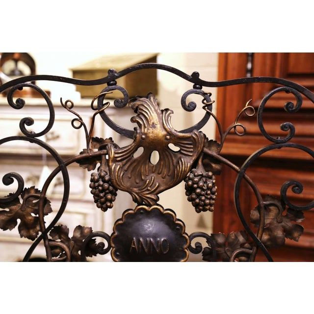 Mid-20th Century French Louis XV Wrought Iron Fireplace Screen With Vine Motifs For Sale - Image 9 of 10