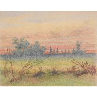 1920s Dusk Landscape Drawing by Benjamin Harnett For Sale