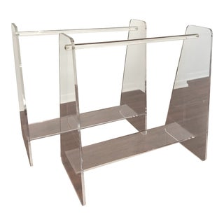 Vintage Lucite Acrylic Standing Quilt or Towel Racks - Pair For Sale