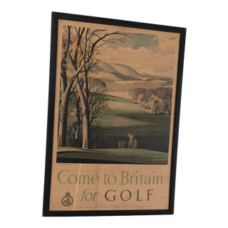 "1952 ""Come to Britain for Golf"" Vintage Travel Poster For Sale"
