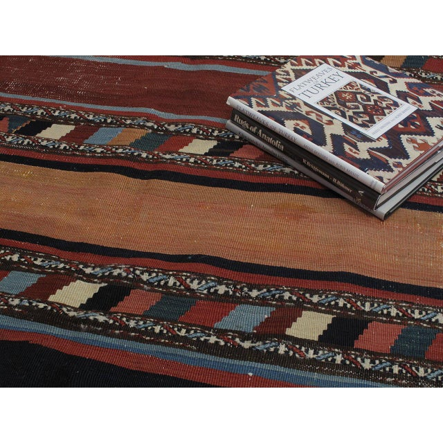 Blue Antique Shahsavan Kilim For Sale - Image 8 of 9