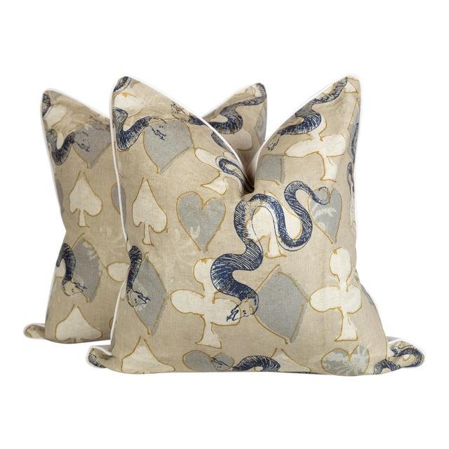 Linen Serpent Abstract Pillows, a Pair For Sale