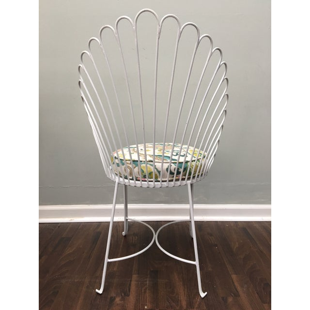 Hollywood Regency Shell Back Metal Side Chair - Image 7 of 8