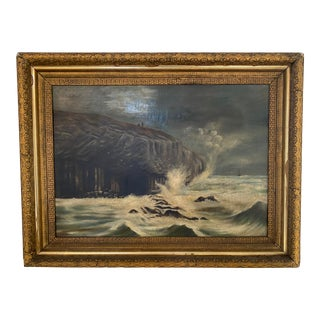 Late 19th Century Nautical Seascape Original Antique Oil Painting in Gilt Frame For Sale