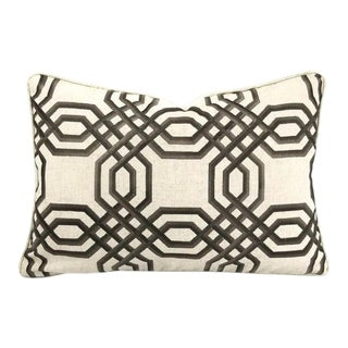 """Brown Embroidered Geometric Design on Linen and Self-Welt Lumbar Pillow Cover - 14"""" X 20"""" For Sale"""