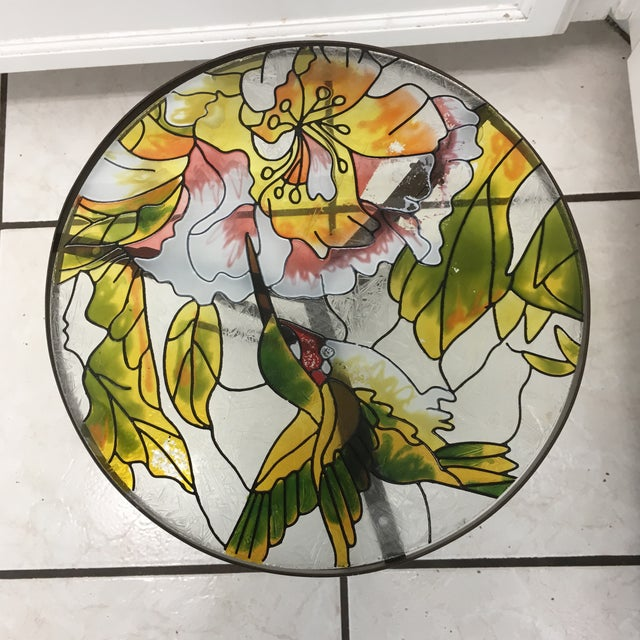 Hummingbird Stained Glass Accent Plant Stand Tables For Sale - Image 9 of 11