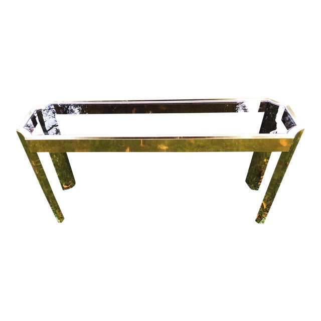 1970's Baughman Style Brass and Smoked Glass Console Table For Sale
