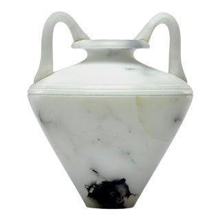 New White Alabaster Vase With Handles For Sale