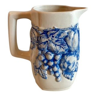 1955 Cottage Blue and White Fruit Motif Ceramic Pitcher