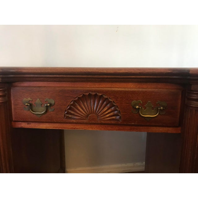 Gold 1950s Traditional Kling Furniture Co Solid Mahogany Desk For Sale - Image 8 of 10