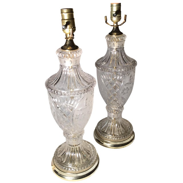 Vintage Crystal and Silk Shantung Table Lamps - 2 - Image 3 of 9