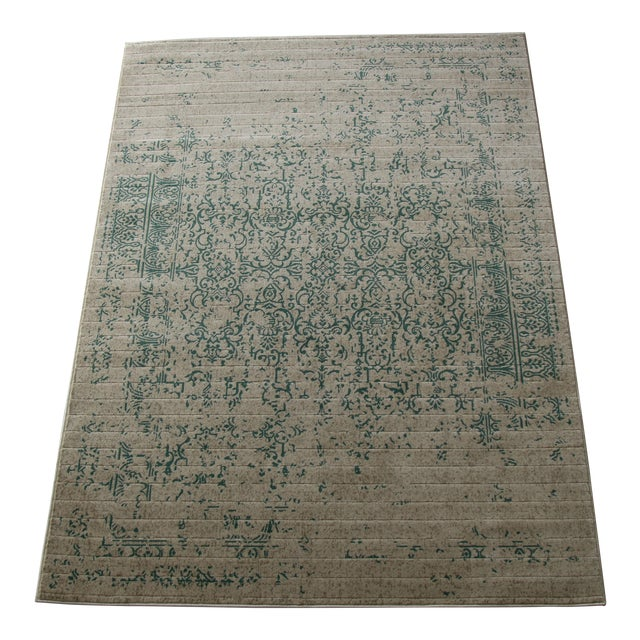 """Teal Distressed Patterned Rug - 8'x10'7"""" - Image 1 of 7"""