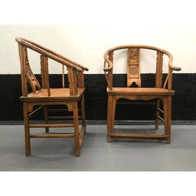 19th Century Large Chinese Ming-Style Horseshoe Back Chairs- A Pair For Sale In New York - Image 6 of 13