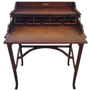 1990s Campaign Style Mahogany and Leather Folding Writing Desk For Sale