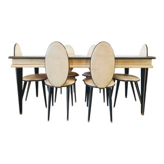 1952 Umberto Mascagni Dining Table and Six Chairs for Barget London and Harrods For Sale