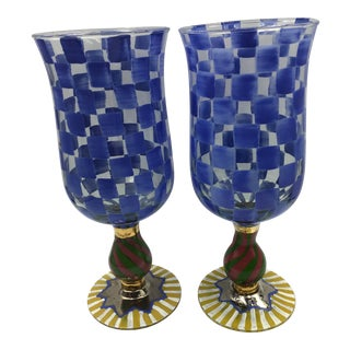 Mackenzie Childs Circus Blue Checkered Hand Painted Goblets Glasses - Set of 2 For Sale