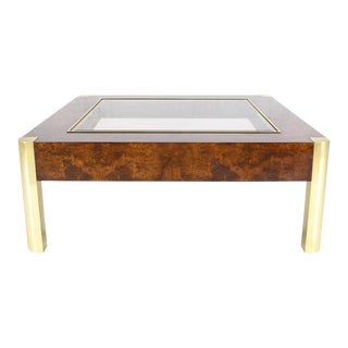Burl Wood Brass Glass Top Square Coffee Table For Sale