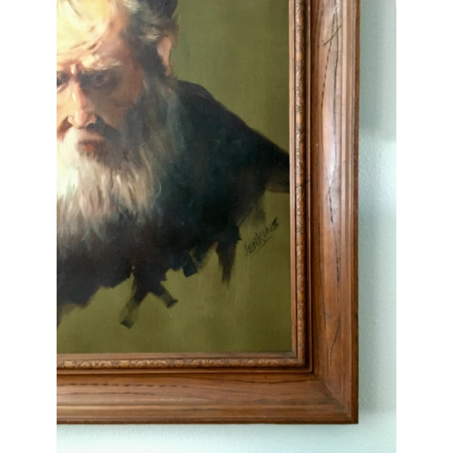 """1970s Vintage Rennaisance Baroque Replica Rembrandt """"Head of an Old Man in a Cap"""" Oil Painting For Sale - Image 5 of 8"""