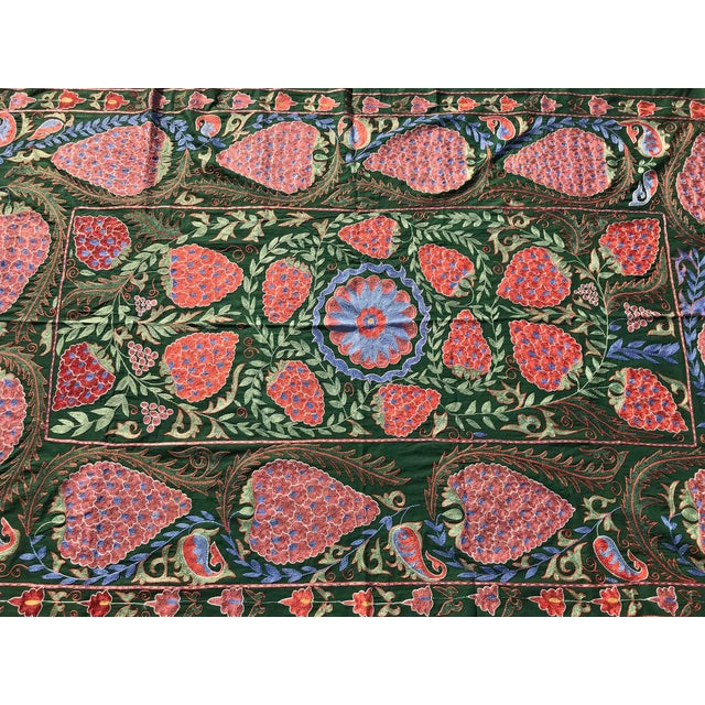 "Handmade Suzani Strawberry Design Crochet Embroidered Wall Hanging / Bedspread - 7'1"" X 3'7"" For Sale In Los Angeles - Image 6 of 8"