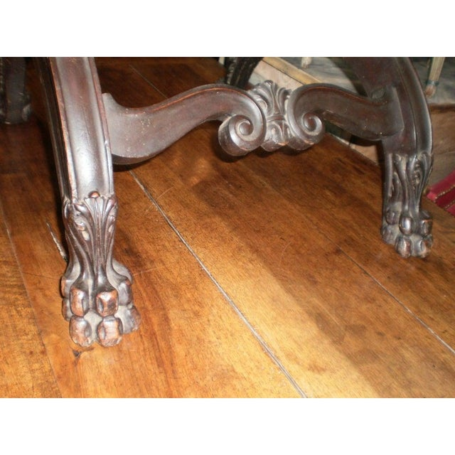 Brown 19th Century Antique Italian Carved Walnut Renaissance Style Chair For Sale - Image 8 of 10