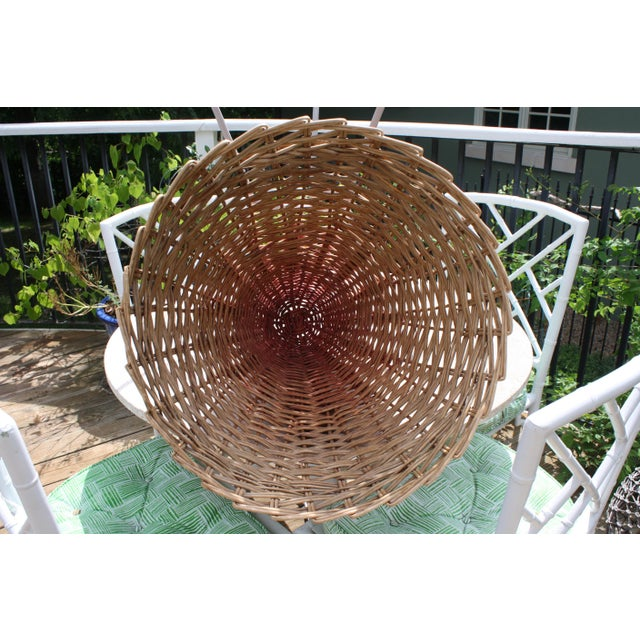 Brown Mid-Century Wicker Basket Planter on Metal Tripod Stand / Wicker and Metal Dining Table Base For Sale - Image 8 of 13