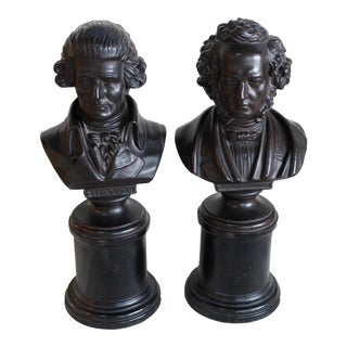 Vintage Ceramic Busts of Mendelssohn & Haydn - a Pair For Sale