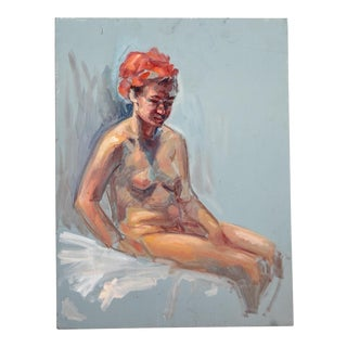 Nude on Blue Painting For Sale