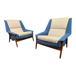 "Pair of Vintage Scandinavian Modern Teak ""Profil"" Lounge Chairs by Folke Ohlsson for Dux of Sweden. For Sale"