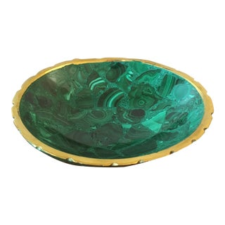 Brass Trimmed Malachite Bowl