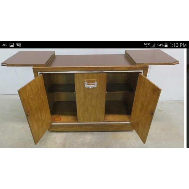 Mid-Century Modern Credenza Flip Top Burl Style For Sale - Image 9 of 10