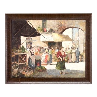 1950s Vintage French Market Scene Oil Painting For Sale