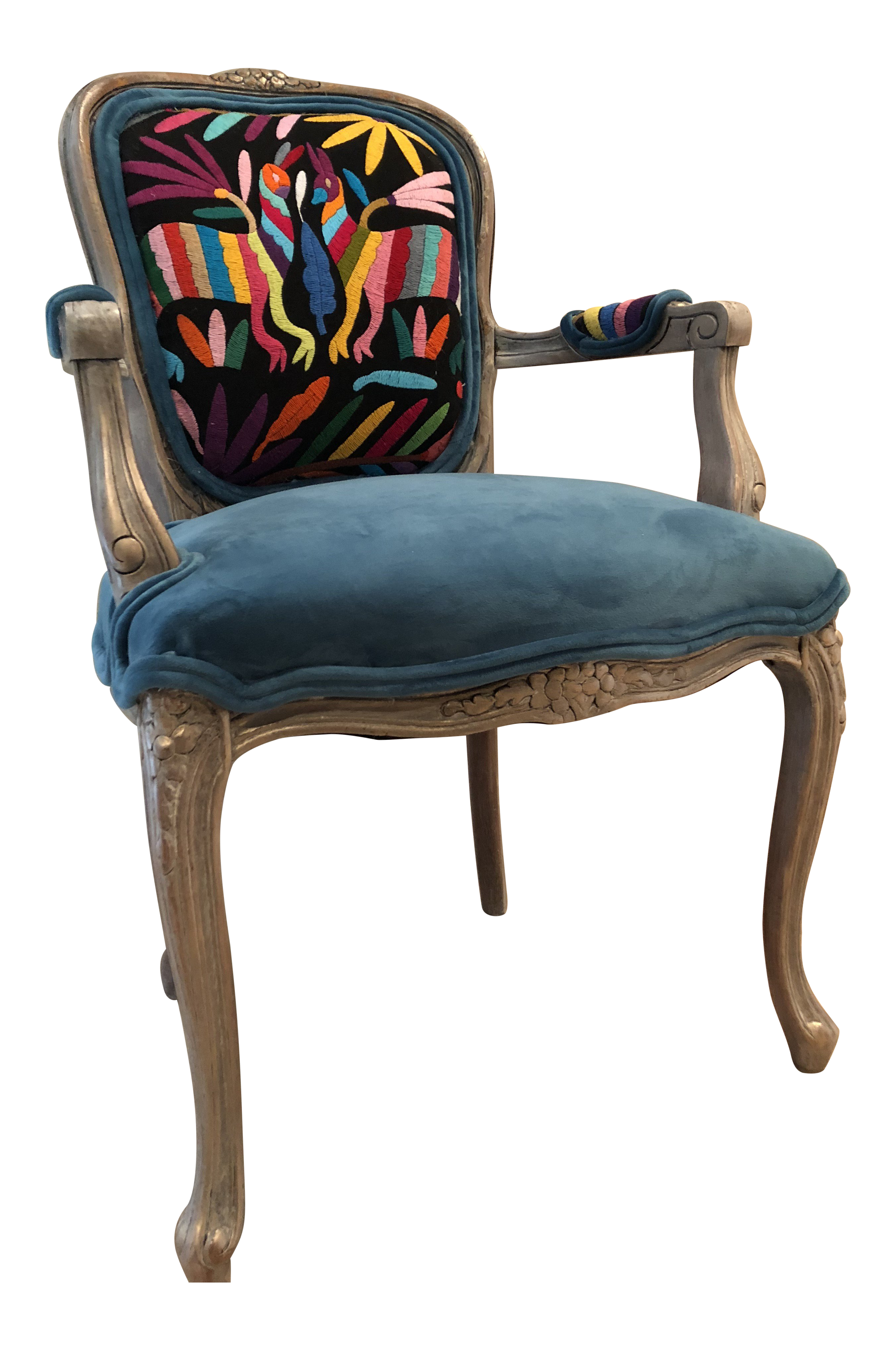 1990s Southwestern Otomi Teal Windsor Chair