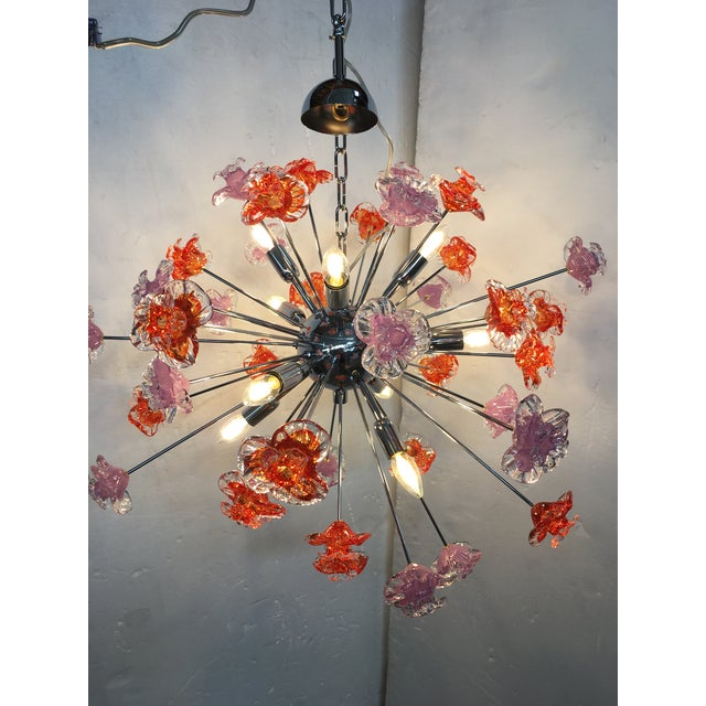Contemporary Murano Glass Flowers Sputnik Chandelier For Sale - Image 10 of 12
