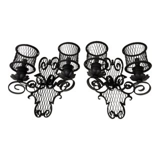 Gilbert Poillerat Style Wrought Iron Sconces - a Pair For Sale