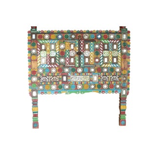 Vintage Green Tribal Chest Accent Table For Sale