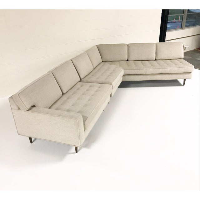 Vintage Mid-Century 2-Piece Sectional Sofa Restored in Gray Loro Piana Alpaca Wool For Sale - Image 12 of 12