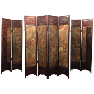 Unusual Eight Panel Chinese Coromandel Screen Circa 1700-1800 With Carved Frame For Sale