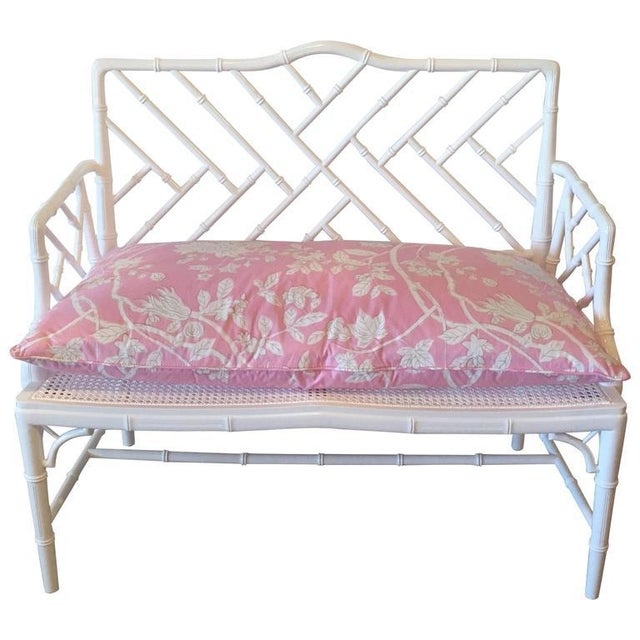 Chinese Chippendale Faux Bamboo Lacquered Pink Cushion Arm Bench For Sale - Image 11 of 12
